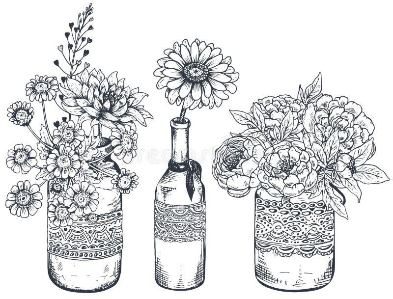 Букеты с цветками и заводами нарисованными рукой в опарниках ваз иллюстрация вектора