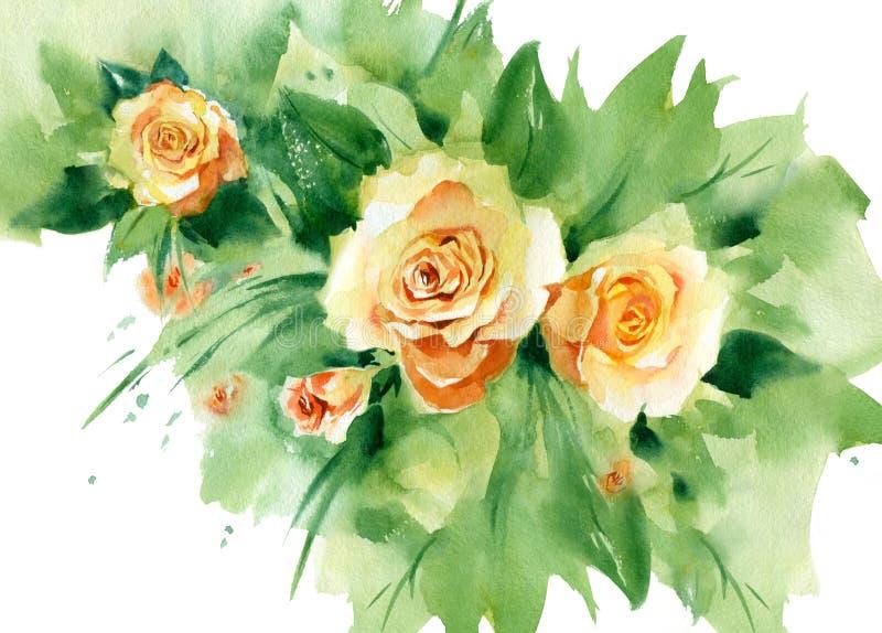 Букет акварели желтого цветка бесплатная иллюстрация
