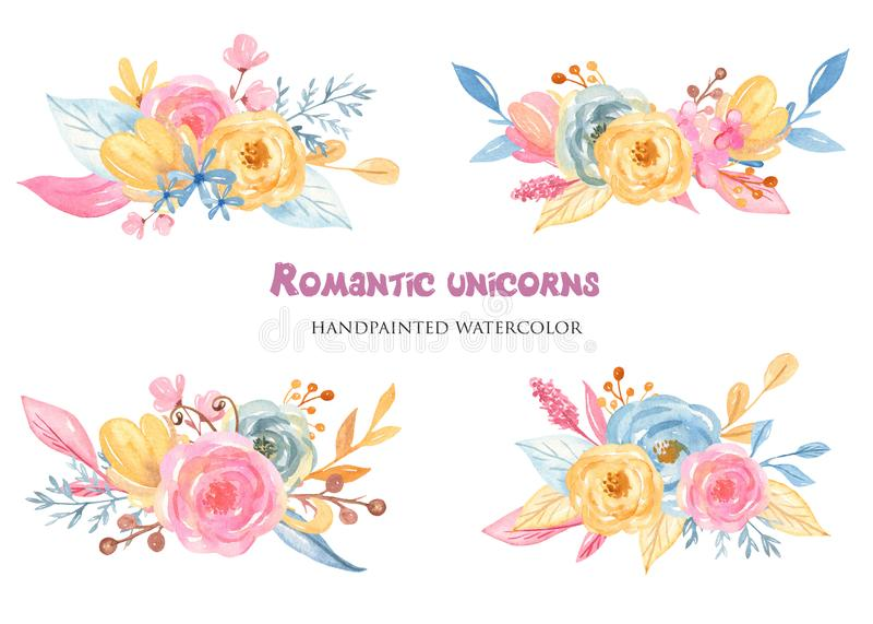 Букет акварели милый розовый с цветками бесплатная иллюстрация