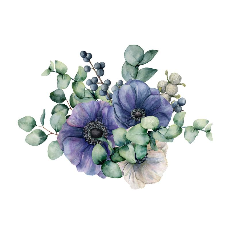 Букет акварели с ветреницей и евкалиптом Рука покрасила голубые и белые цветки, листья зеленого цвета, ягоды, ветвь иллюстрация вектора
