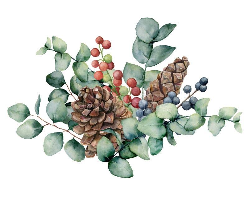 Букет акварели с листьями, конусом и ягодами евкалипта Рука покрасила зеленые ягоды завтрак-обеда евкалипта, красных и голубых иллюстрация вектора