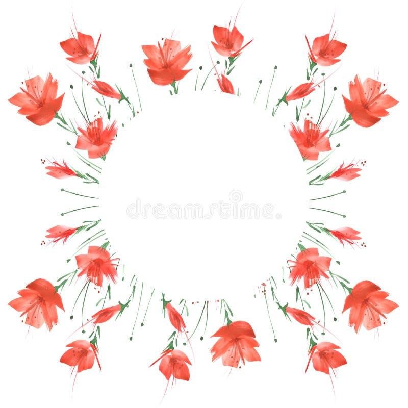 Букет акварели цветков мака, cornflower иллюстрация вектора