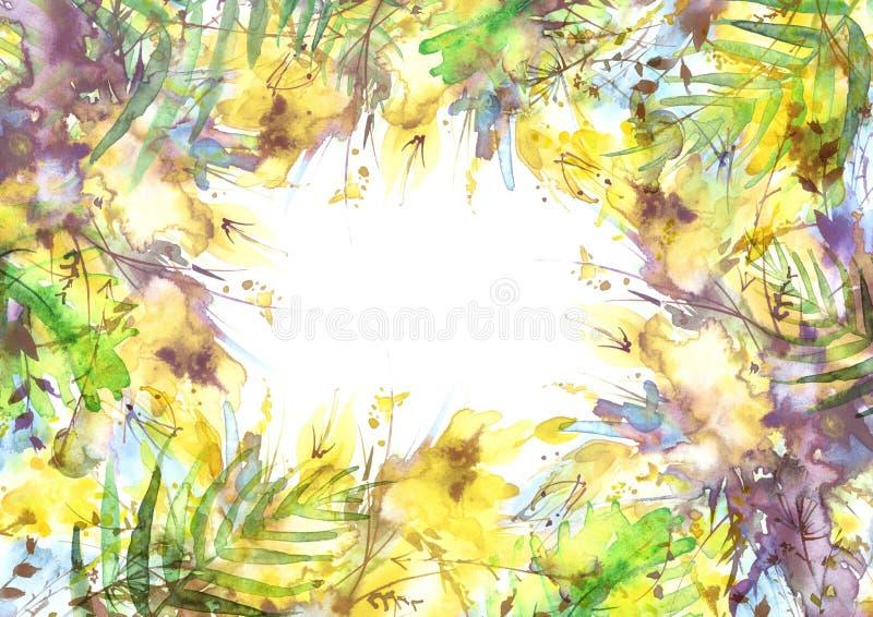 Букет акварели цветков, цветков орхидеи, мака иллюстрация штока