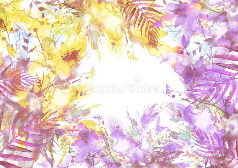 Букет акварели цветков, цветков орхидеи, мака иллюстрация вектора
