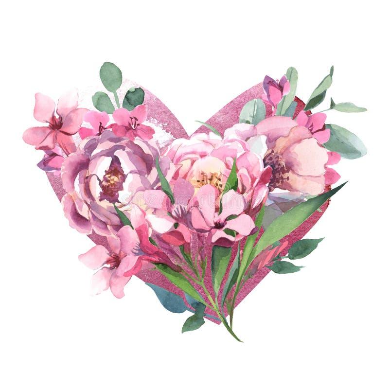 Букет акварели цветков пиона в изоляте формы сердца в белой предпосылке для свадьбы, приглашения, карт Валентайн и печатей бесплатная иллюстрация