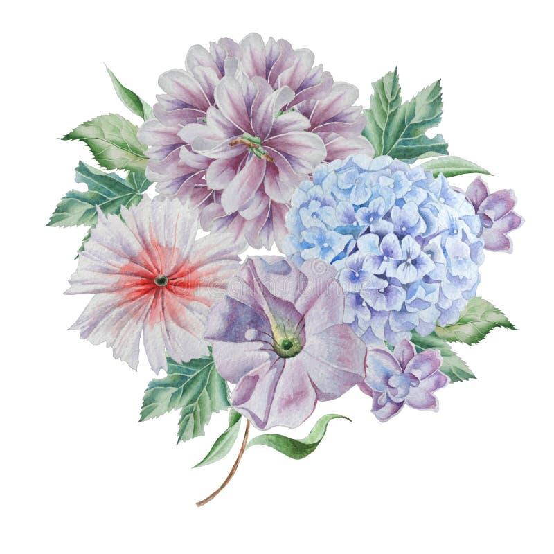 Букет акварели с цветками Пион hydrangea иллюстрация штока