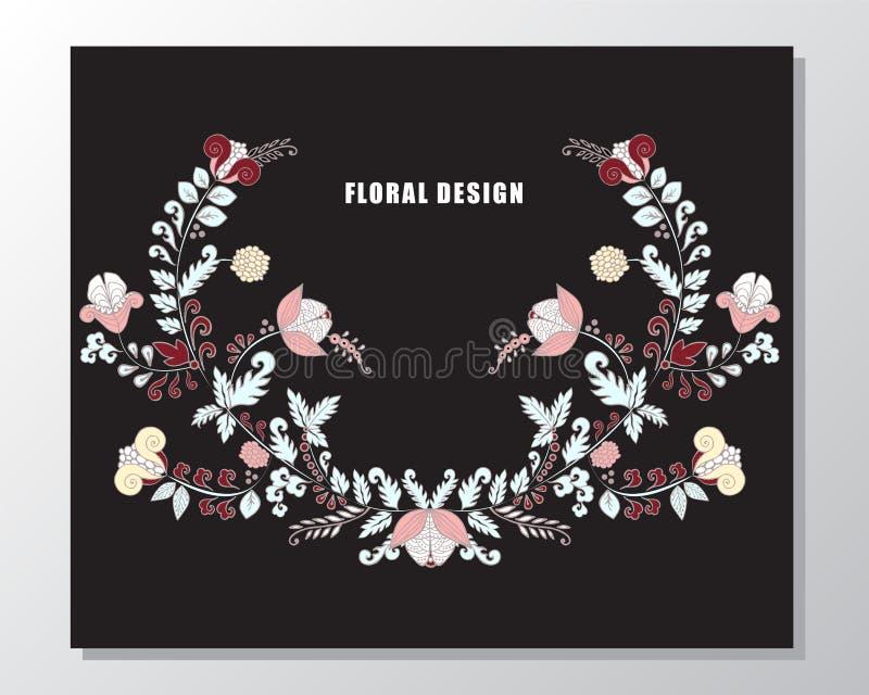 Букет вектора запаса флористический с рамкой карточка весны, приглашение бесплатная иллюстрация