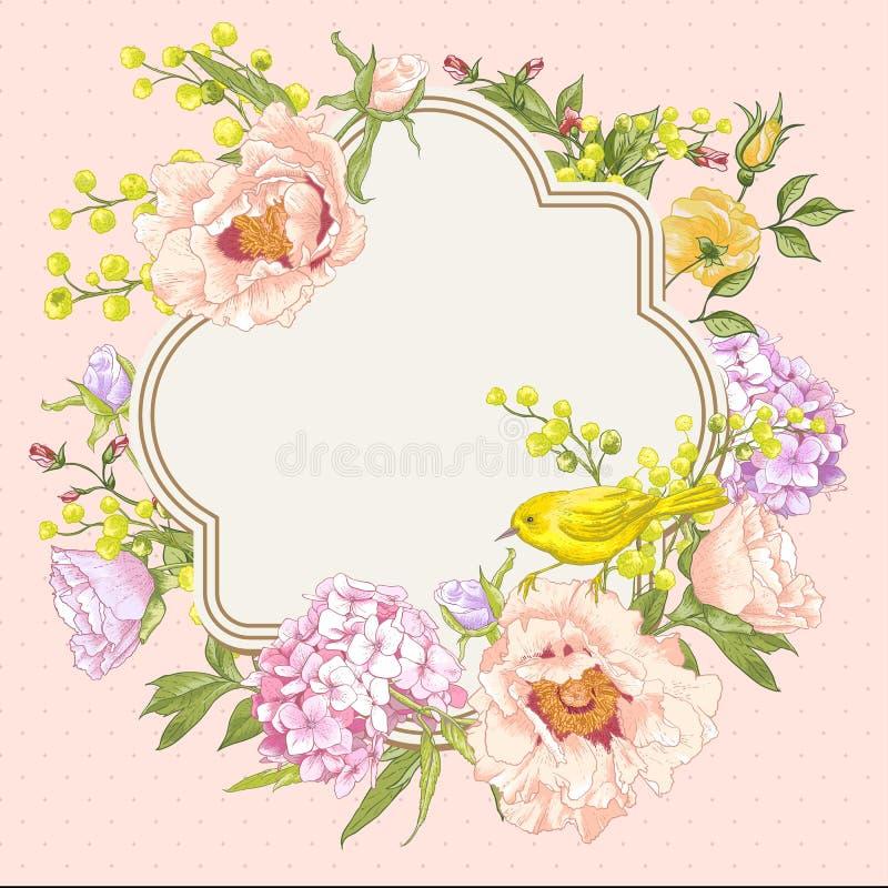 Букет весны винтажный флористический с птицами бесплатная иллюстрация