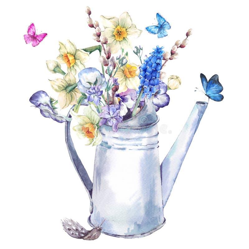 Букет весны с daffodils, pansies, muscari и бабочками бесплатная иллюстрация
