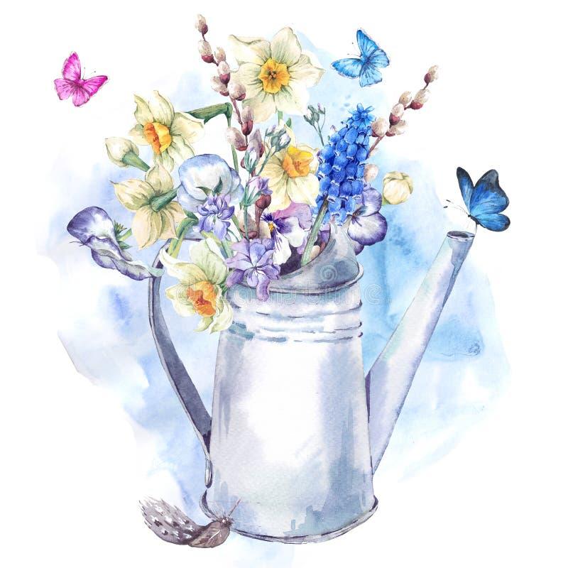 Букет весны с daffodils, pansies, muscari и бабочками иллюстрация вектора