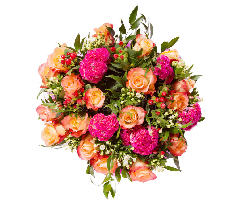 Букет взгляд сверху цветков изолированный на белизне стоковое фото