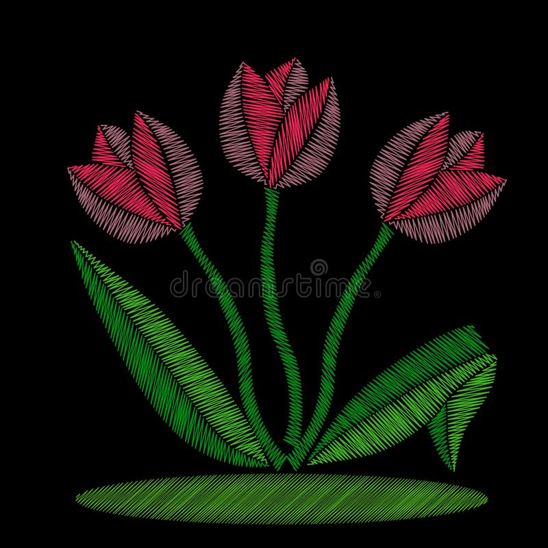 Букет вышивки розовых тюльпанов иллюстрация вектора