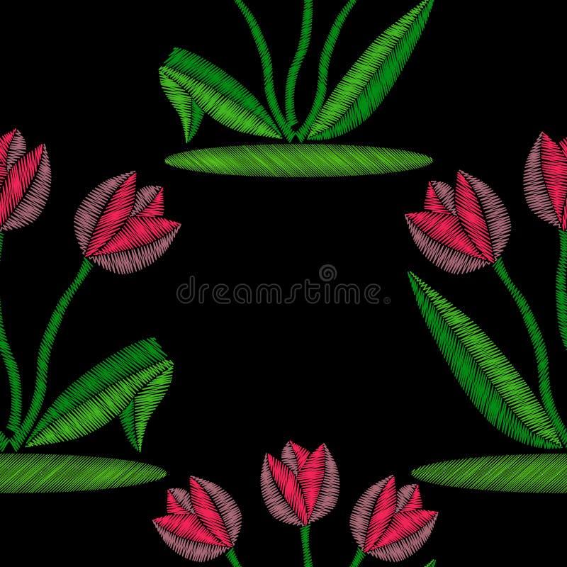 Букет вышивки розовых тюльпанов бесплатная иллюстрация