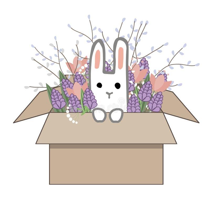 Букет гиацинтов doodle весны и цветков тюльпана в картонной коробке со сладким зайчиком изолированным на белой предпосылке иллюстрация штока