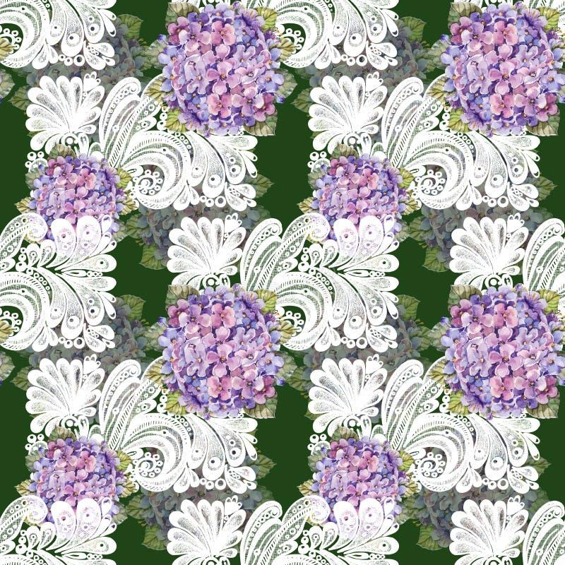 Букет гортензии, белое украшение, акварель, делает по образцу безшовное бесплатная иллюстрация