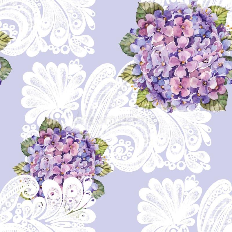 Букет гортензии, белое украшение, акварель, делает по образцу безшовное иллюстрация штока