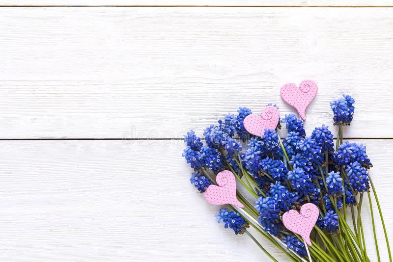 Букет голубых muscaries цветет с декоративными сердцами на whit стоковое изображение