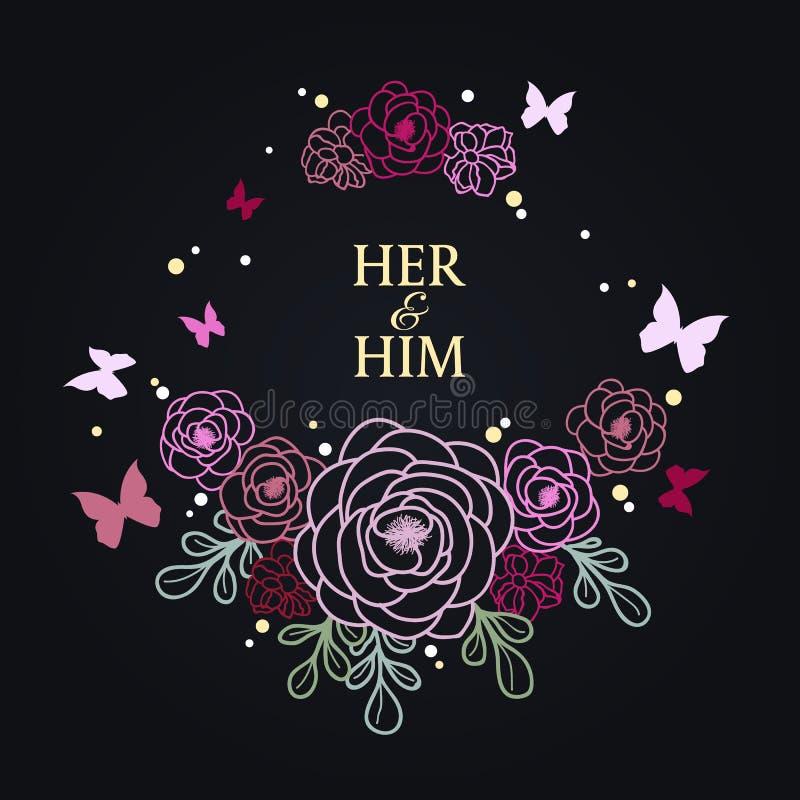 Букет границы роз и бабочки на темном дизайне вектора конспекта предпосылки дня ` s свадьбы и валентинки иллюстрация вектора