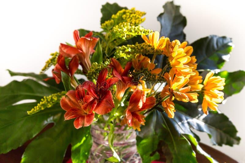 Букет желтых, красных и оранжевых цветков стоковые изображения rf