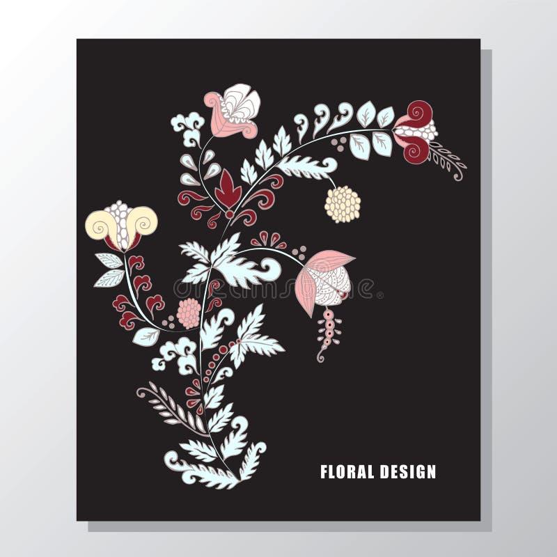 Букет запаса флористический с рамкой карточка весны, приглашение иллюстрация штока