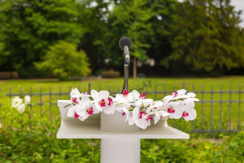 Букет и микрофон цветка на этапе стоковое фото rf