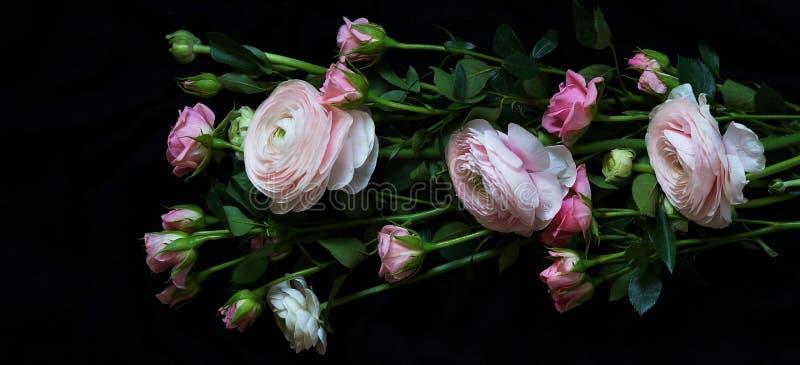 Букет красивого бледнеет - розовые розы и лютик на темной предпосылке стоковые изображения rf
