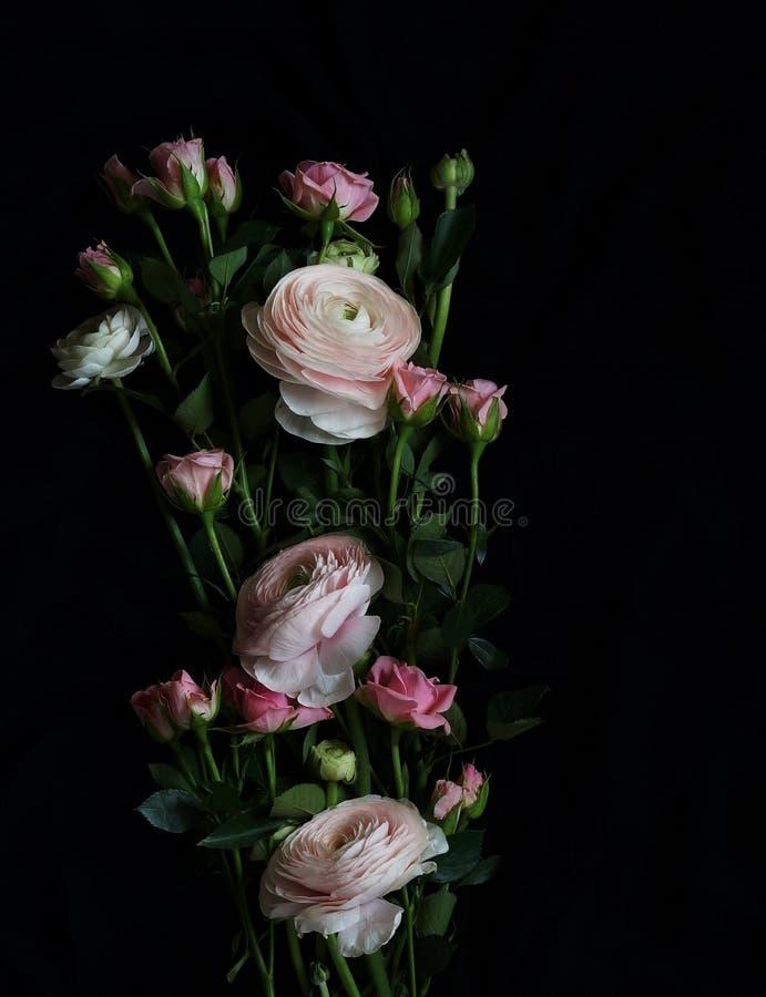 Букет красивого бледнеет - розовые розы и лютик на темной предпосылке стоковые фотографии rf