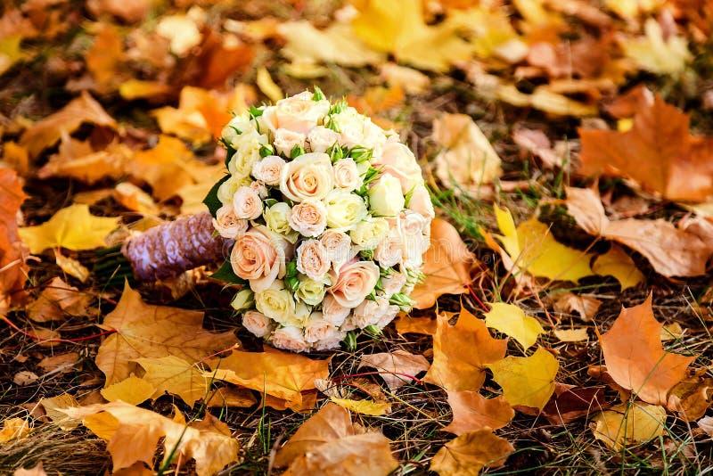 Букет невесты роз в осени стоковое фото rf