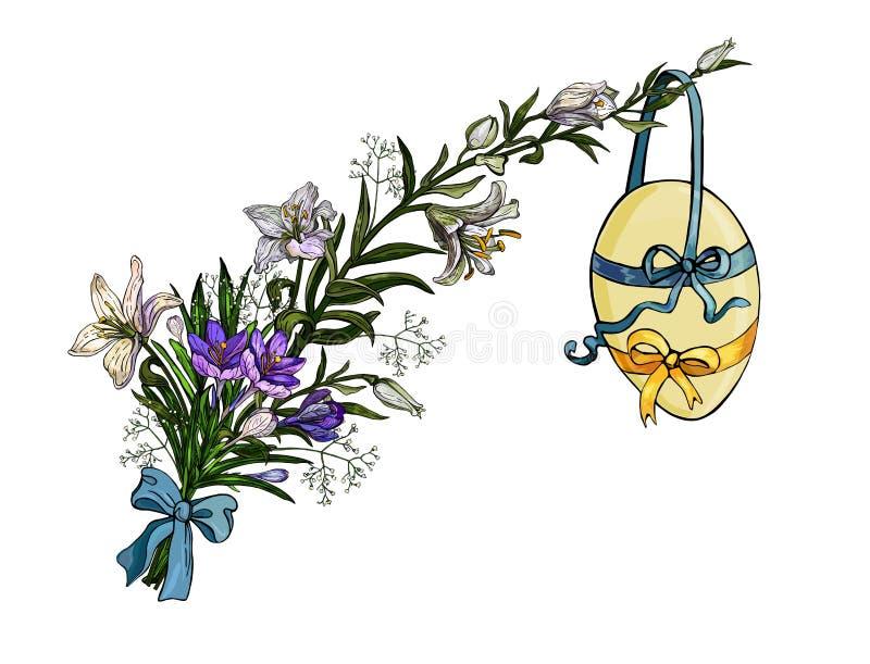Букет пасхи цветков с яйцом вися на ленте в винтажном стиле изолирован иллюстрация вектора