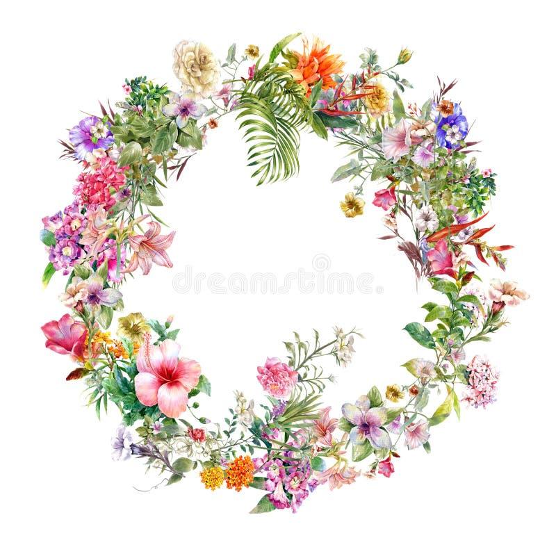 Букет пестротканой картины акварели цветков на предпосылке белизны круга бесплатная иллюстрация