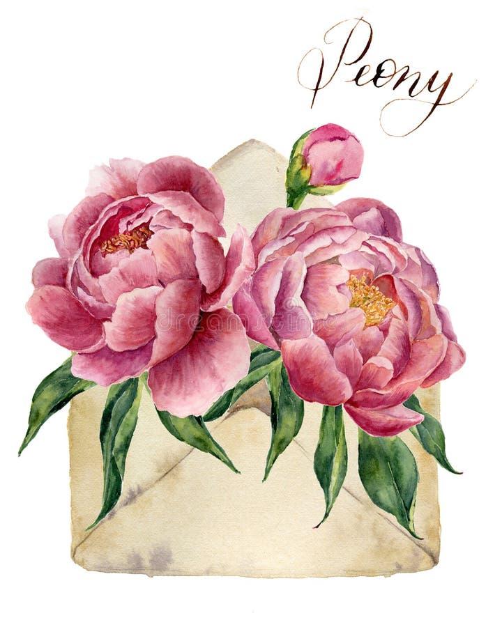 Букет пионов акварели с ретро конвертом Винтажный значок почты при флористическая иллюстрация изолированная на белой предпосылке иллюстрация штока