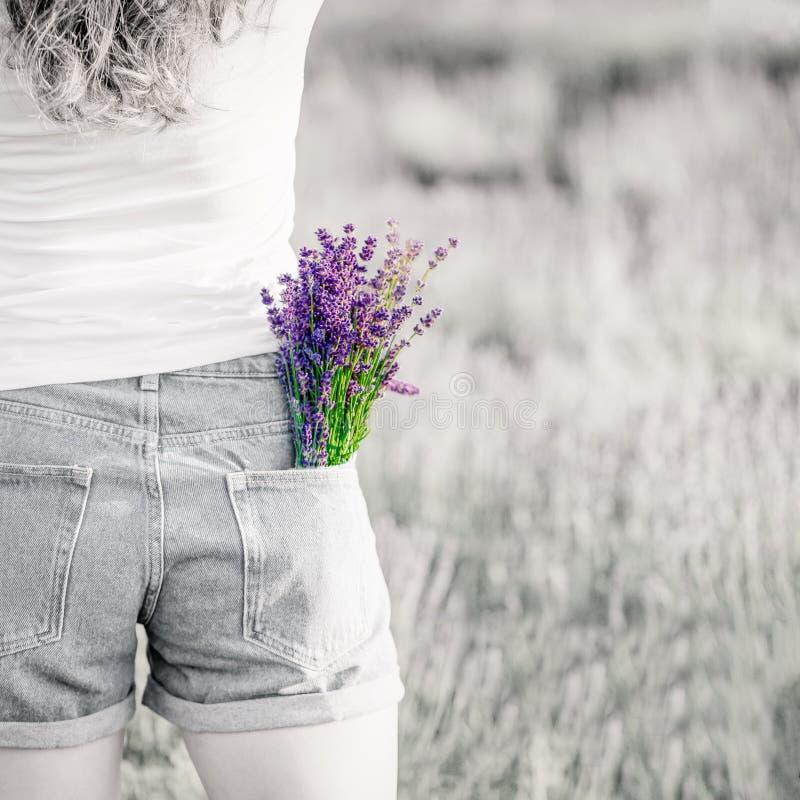Букет пурпурных цветков лаванды в кармане джинсов Черно-белое фото, яркий букет r стоковые изображения