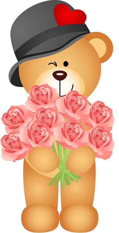 Букет плюшевого медвежонка предлагая роз бесплатная иллюстрация