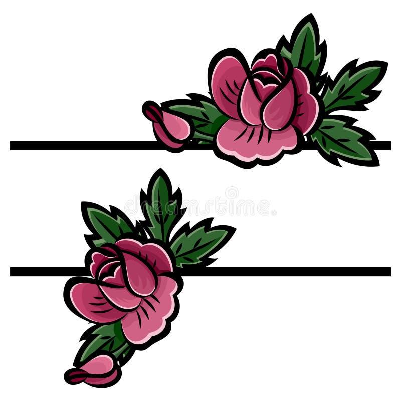 Букет розовых роз, бутонов и зеленых листьев с черным ходом r бесплатная иллюстрация