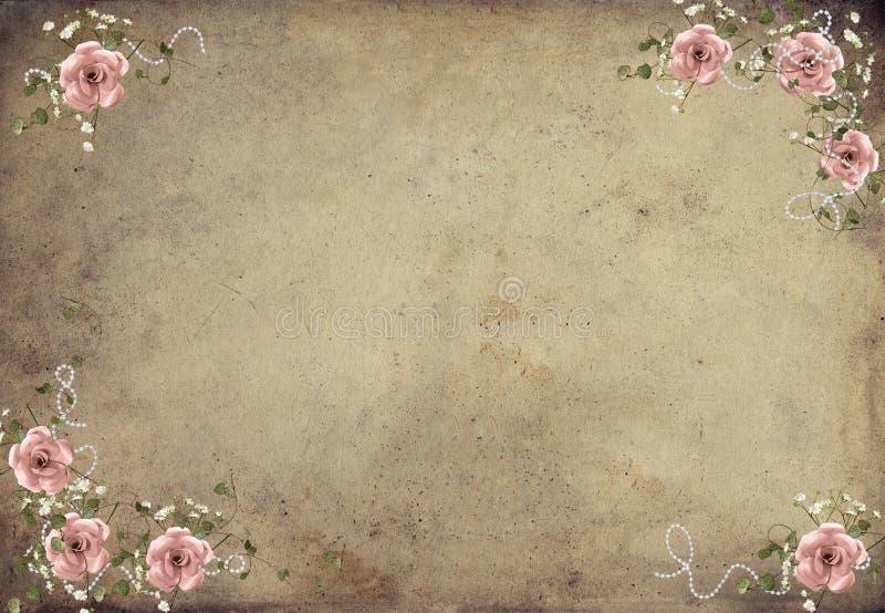 Букет Розы пинка год сбора винограда иллюстрация штока
