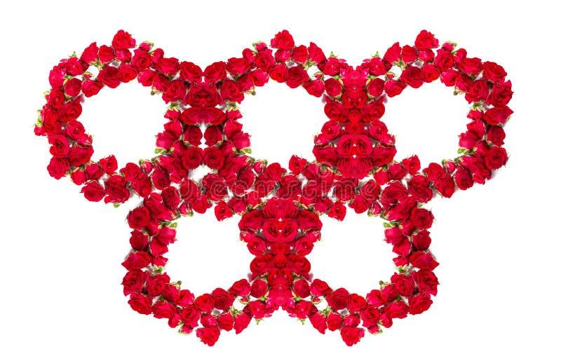 Букет роз аранжированных, что сформировать olimpic кольца или элемент дизайна для флористических тем стоковое фото