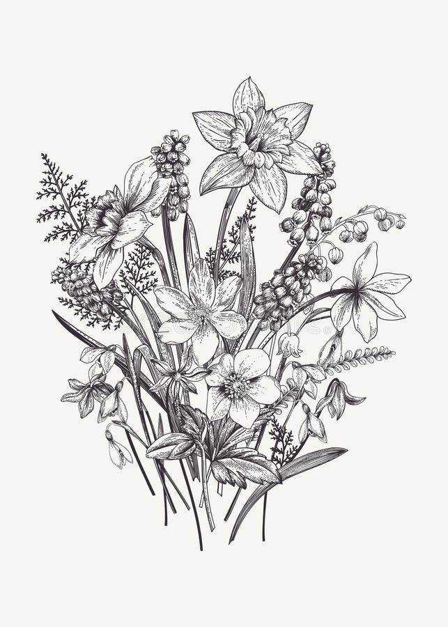 Букет с цветками весны иллюстрация штока