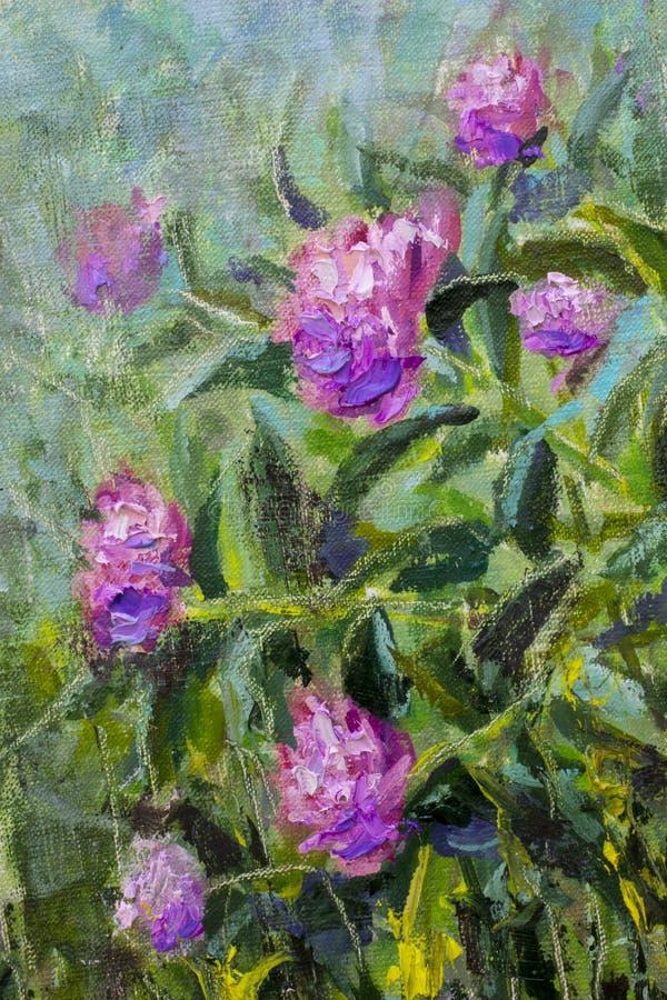 Букет флористической картины маслом красивый в саде цветков фиолетовых пионов, сочных красных роз Цветки в саде, букет подачи стоковая фотография