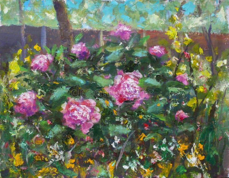 Букет флористической картины маслом красивый в саде цветков фиолетовых пионов, сочных красных роз Цветки в саде, букет подачи стоковая фотография rf