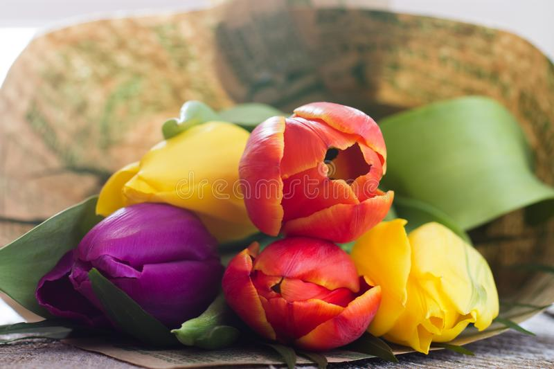 Букет цветастых тюльпанов стоковая фотография rf