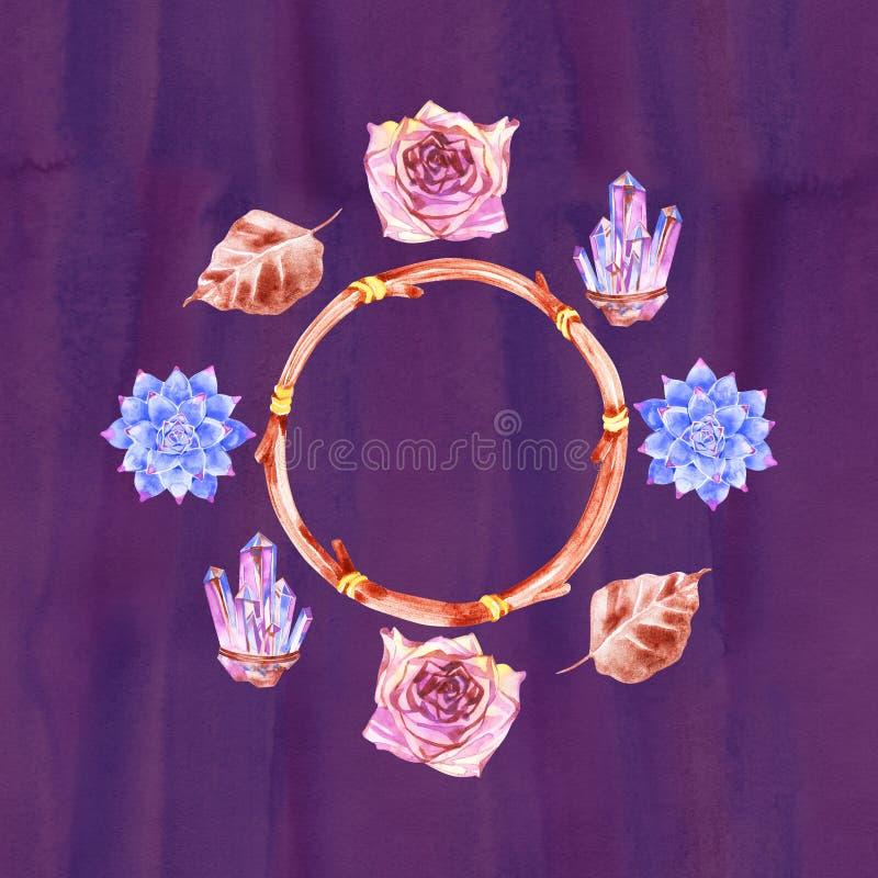 Букет цветка богемский с розами Декоративный состав для приглашения свадьбы и сохранить карту даты r иллюстрация штока