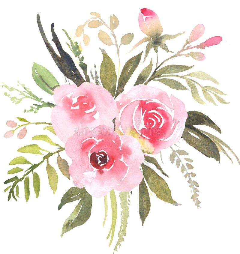 Букет цветка богемский с розами иллюстрация вектора