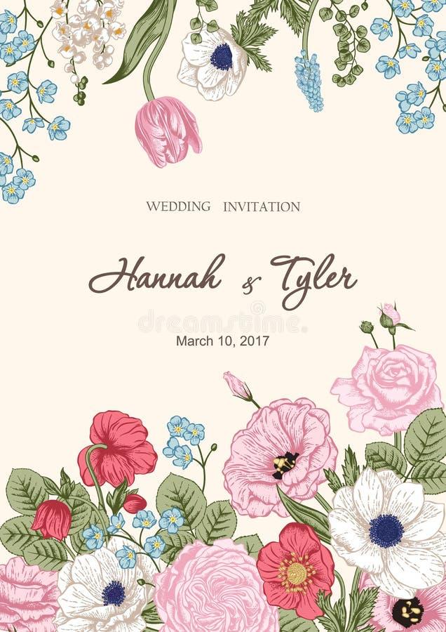 Букет цветков вектор детального чертежа предпосылки флористический иллюстрация вектора