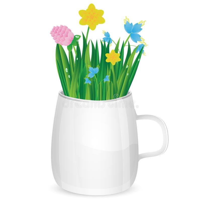 Букет цветков в чашке иллюстрация вектора