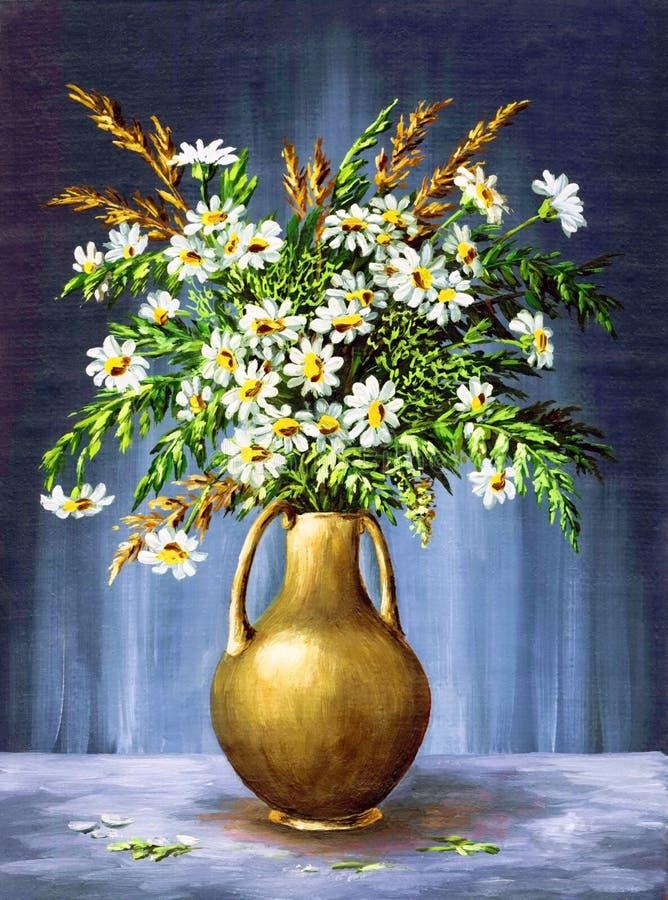 Букет Camomiles в вазе глины иллюстрация штока