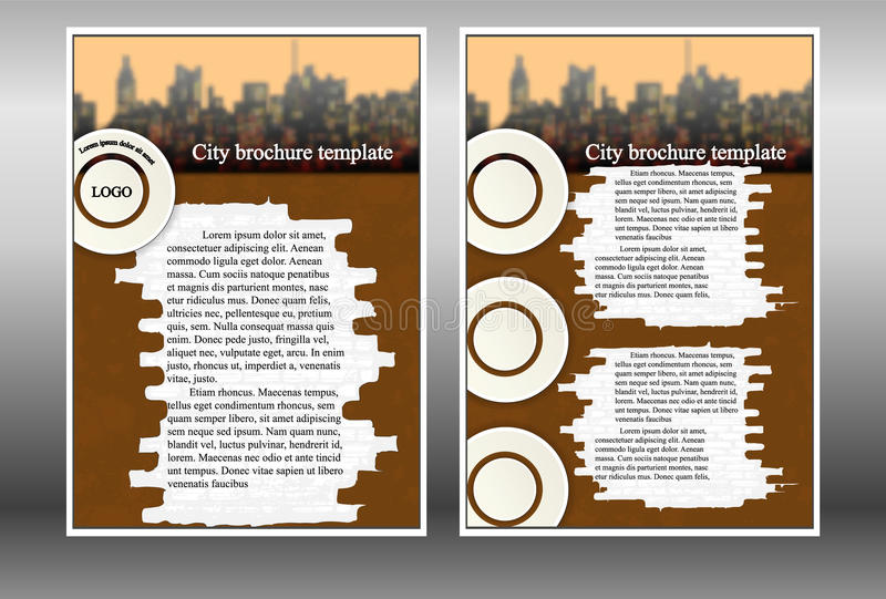 Буклет картины с домами города иллюстрация вектора