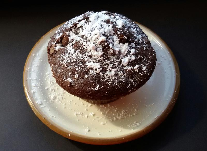 Булочка шоколада с напудренным сахаром на плите стоковое фото