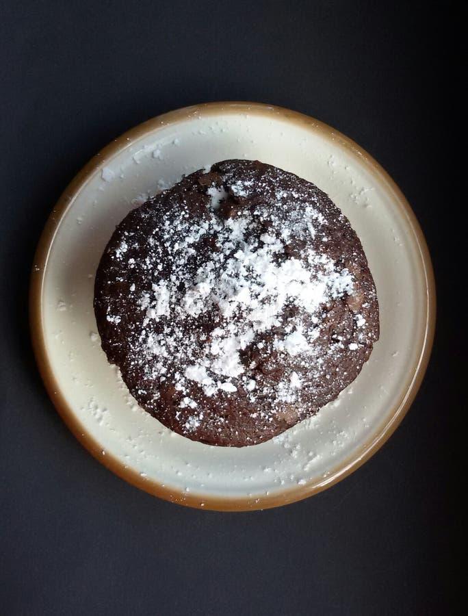 Булочка шоколада с напудренным сахаром на плите стоковые фотографии rf
