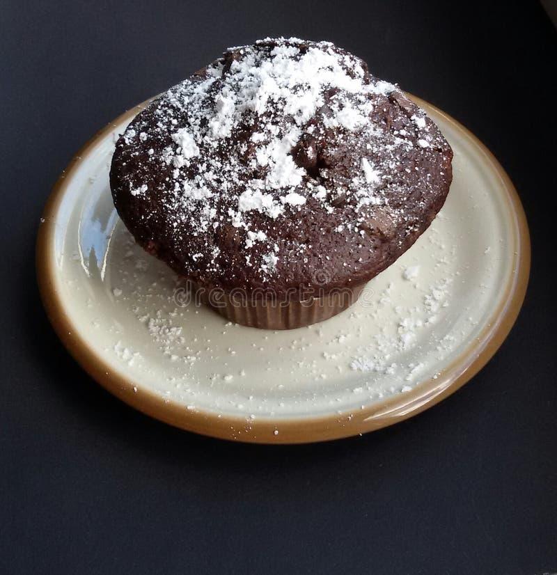 Булочка шоколада с напудренным сахаром на плите стоковое изображение rf