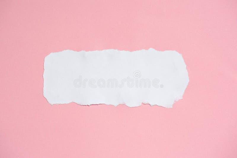 Бумага белизны сорванная и розовая для предпосылки текстуры стоковое фото rf